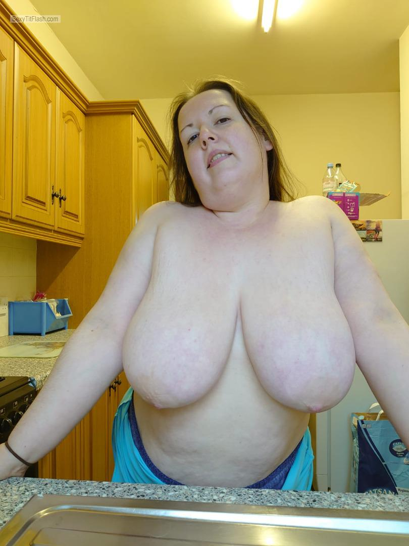 Tit Flash: My Extremely Big Tits - Topless Carol Walker from United Kingdom