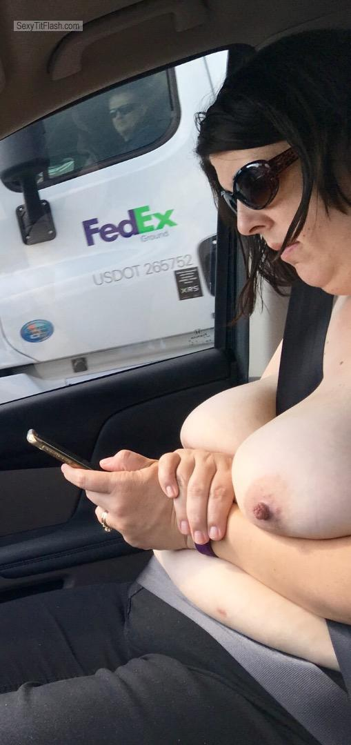 Tit Flash: My Extremely Big Tits - Topless Stella Baby from United States