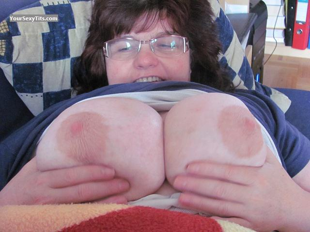 Tit Flash: Wife's Extremely Big Tits - Topless Reini from Austria