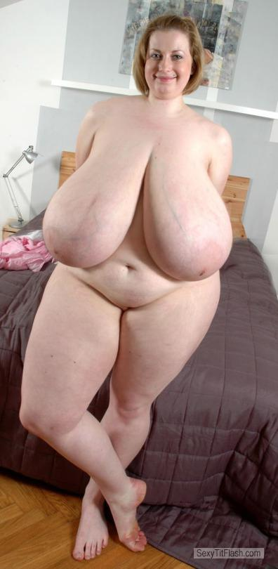 Tit Flash: Wife's Extremely Big Tits - Topless Pam from United Kingdom