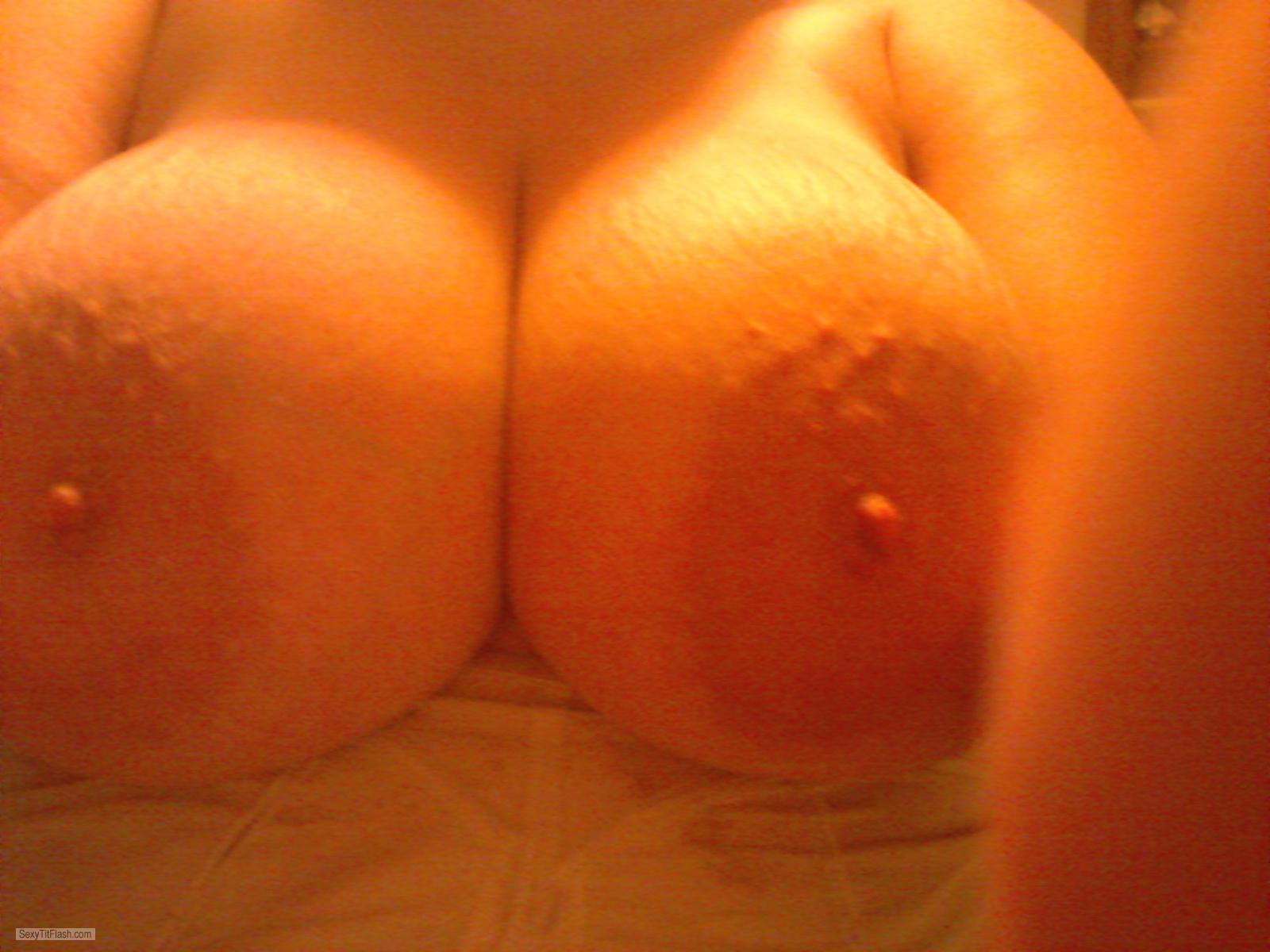 Tit Flash: Wife's Extremely Big Tits (Selfie) - Wife from United States