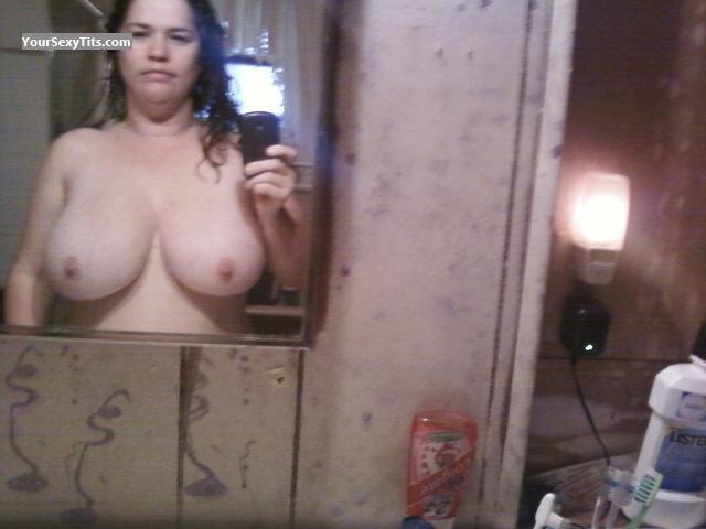 Tit Flash: My Extremely Big Tits (Selfie) - Topless Heather W from United States