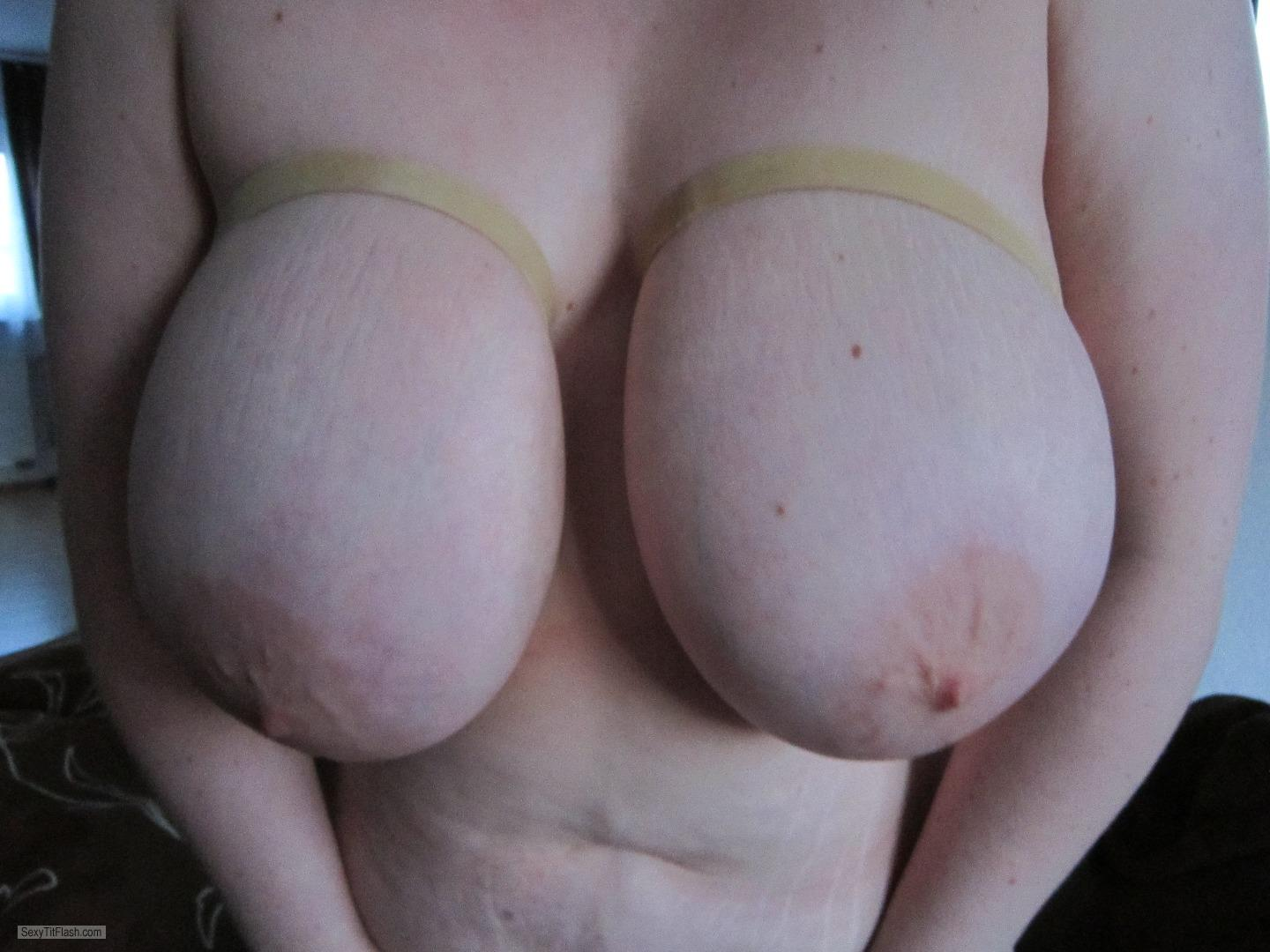 Tit Flash: Girlfriend's Extremely Big Tits - Busi from Germany