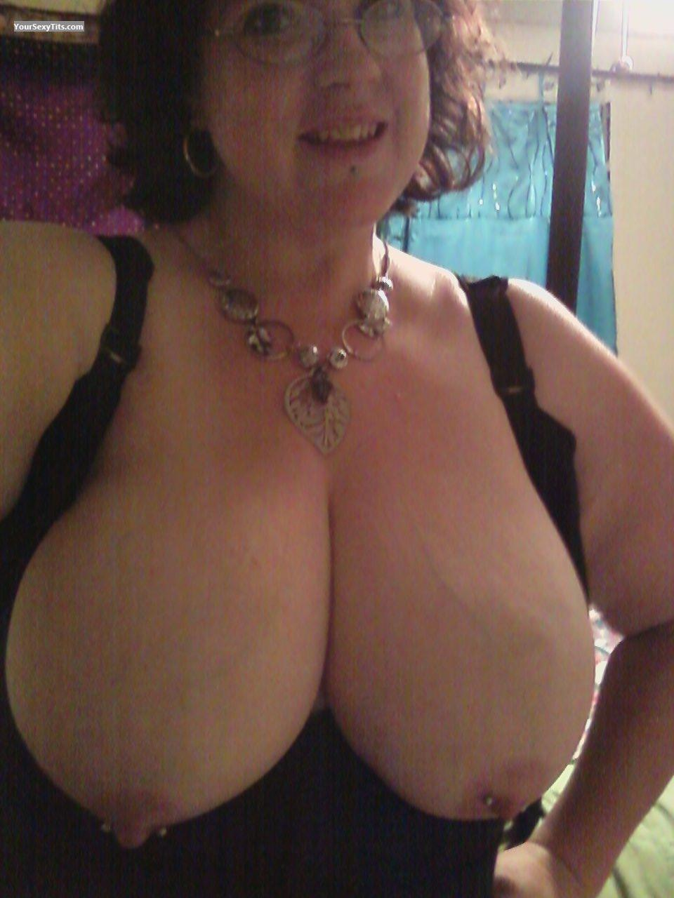 Tit Flash: My Extremely Big Tits (Selfie) - Topless PeachesnCream from United StatesPierced Nipples