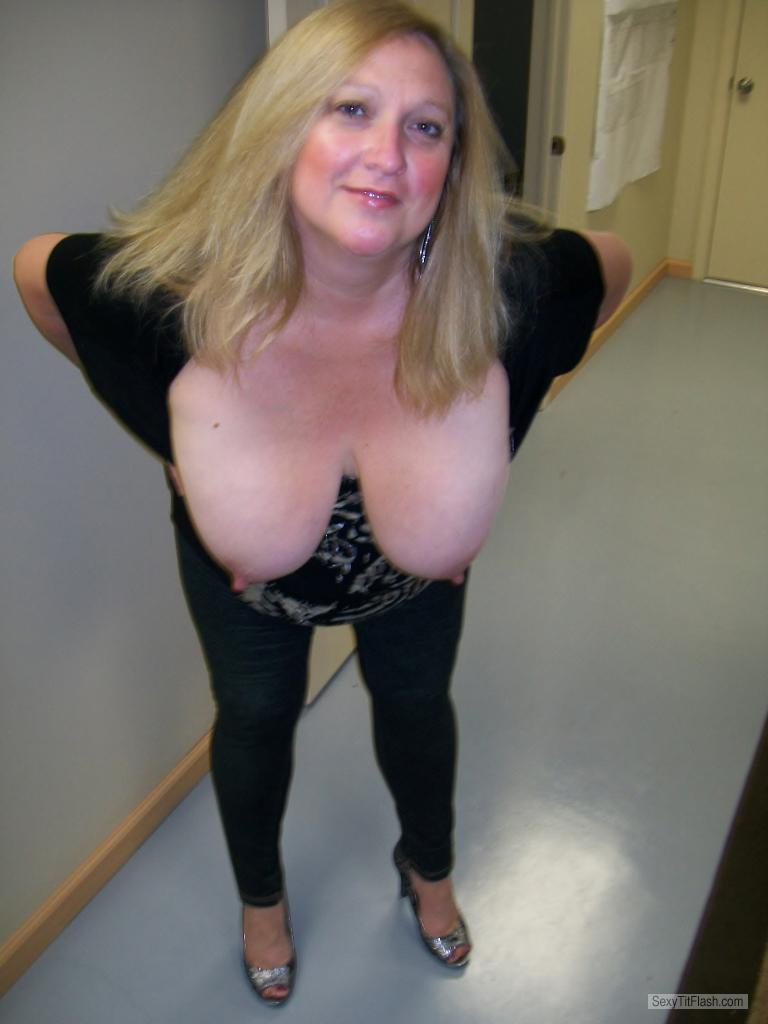 Tit Flash: My Extremely Big Tits - Topless KTX from United States