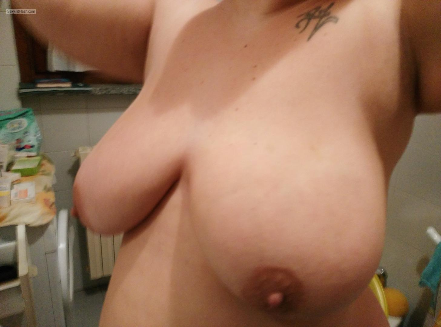 Tit Flash: My Extremely Big Tits - Topless Patrizia from Italy