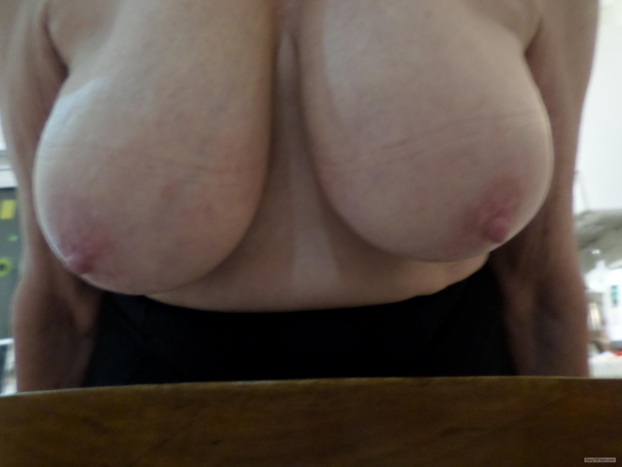Tit Flash: My Extremely Big Tits - Horny! from United Kingdom