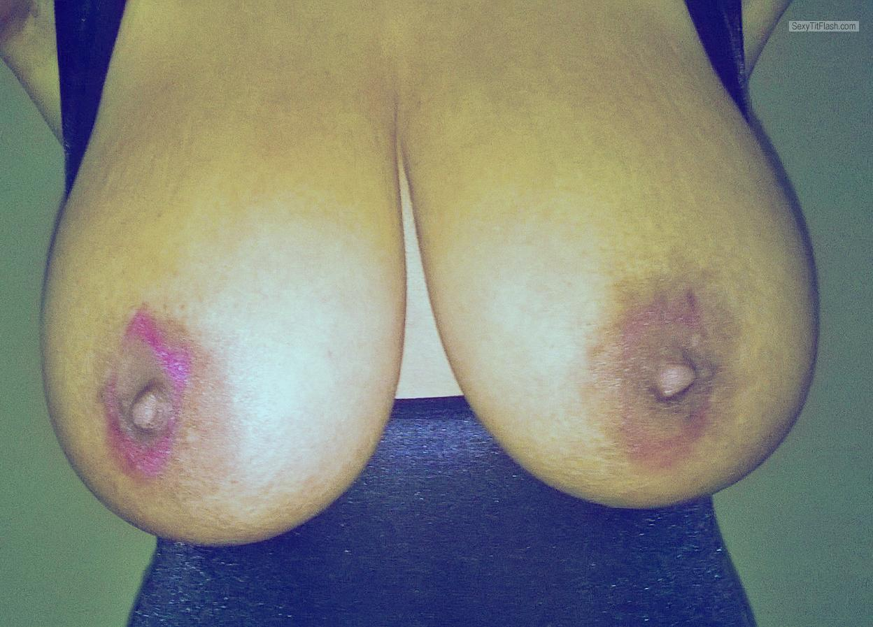 Tit Flash: My Extremely Big Tits With Strong Tanlines (Selfie) - Bouncy 32J **NEW Update ** from United Kingdom