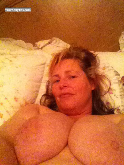 Tit Flash: Wife's Extremely Big Tits (Selfie) - Topless SV from United States