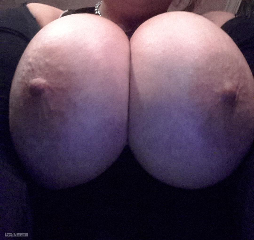 Tit Flash: My Extremely Big Tits (Selfie) - Topless 40i Cups from United States