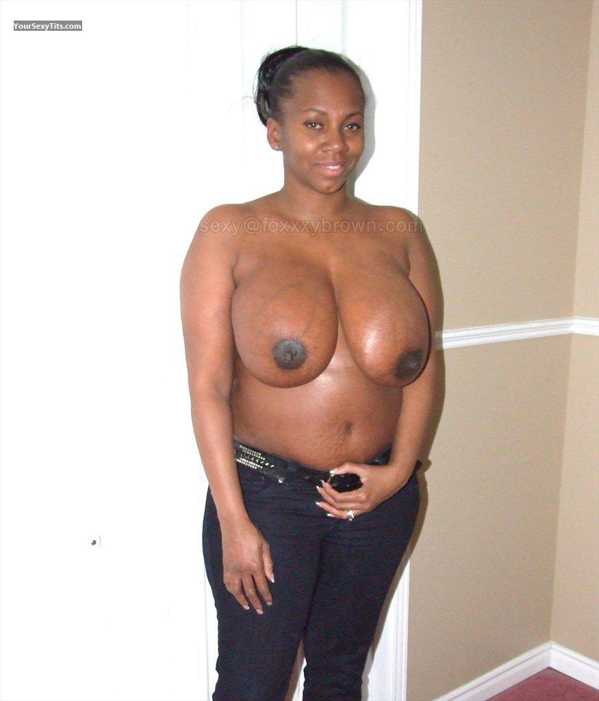 Tit Flash: Extremely Big Tits - Topless Foxybrn from United States