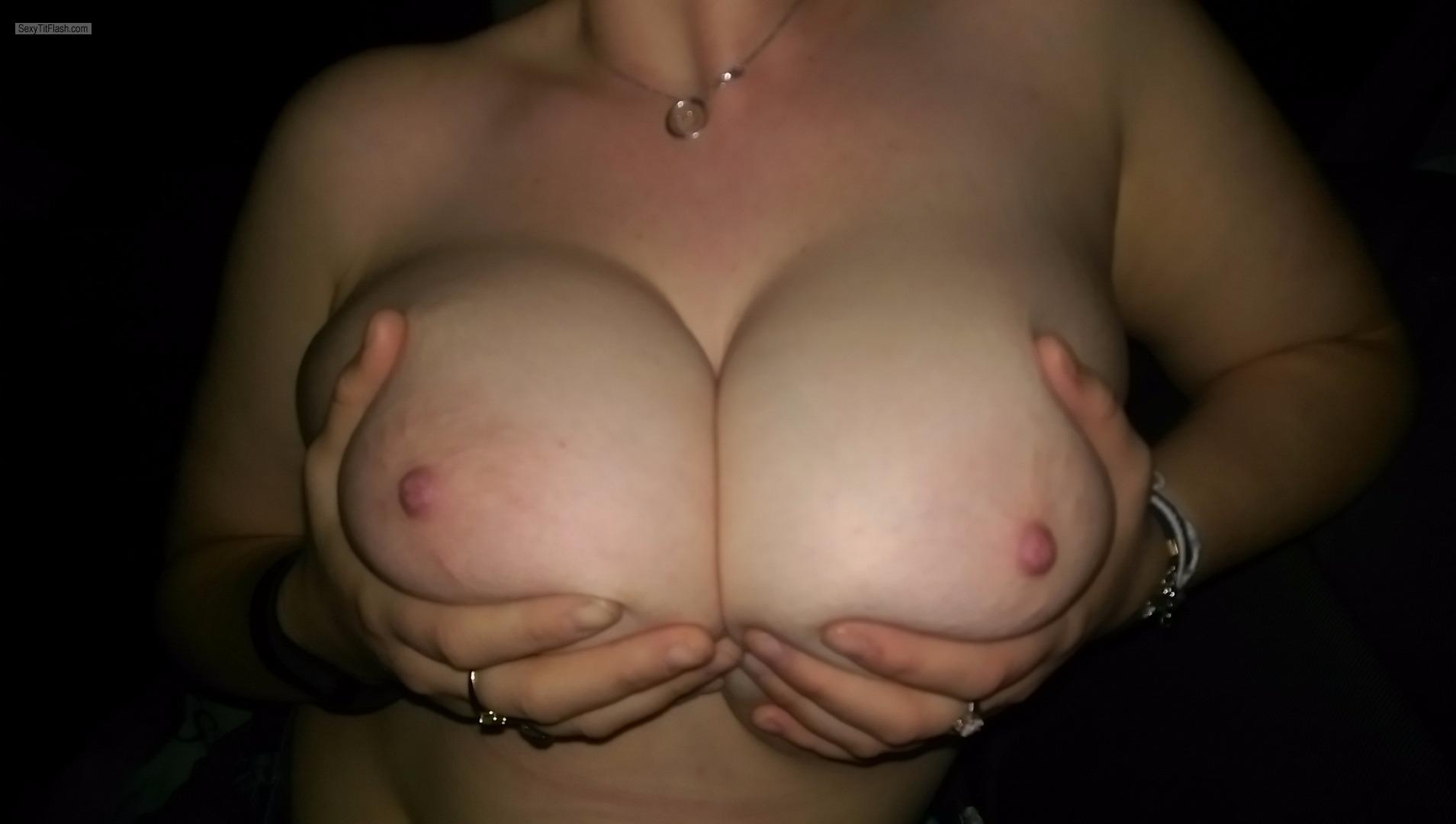 Tit Flash: Girlfriend's Extremely Big Tits - JJ Cup from United States