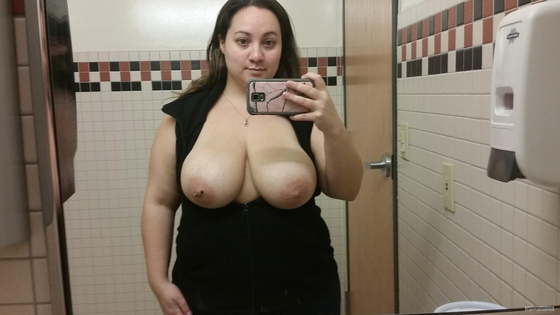 Tit Flash: My Extremely Big Tits (Selfie) - Topless Wife from United StatesPierced Nipples