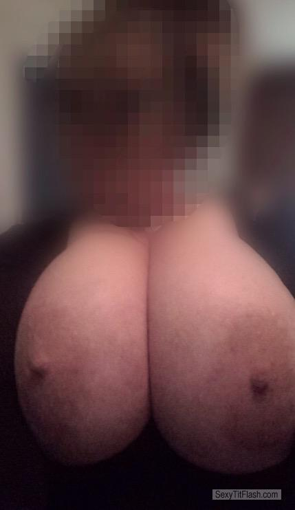 Tit Flash: My Extremely Big Tits (Selfie) - Topless Mz Work Flow from United States
