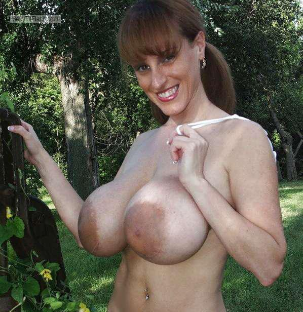 Tit Flash: Wife's Extremely Big Tits - Topless Pam from Denmark