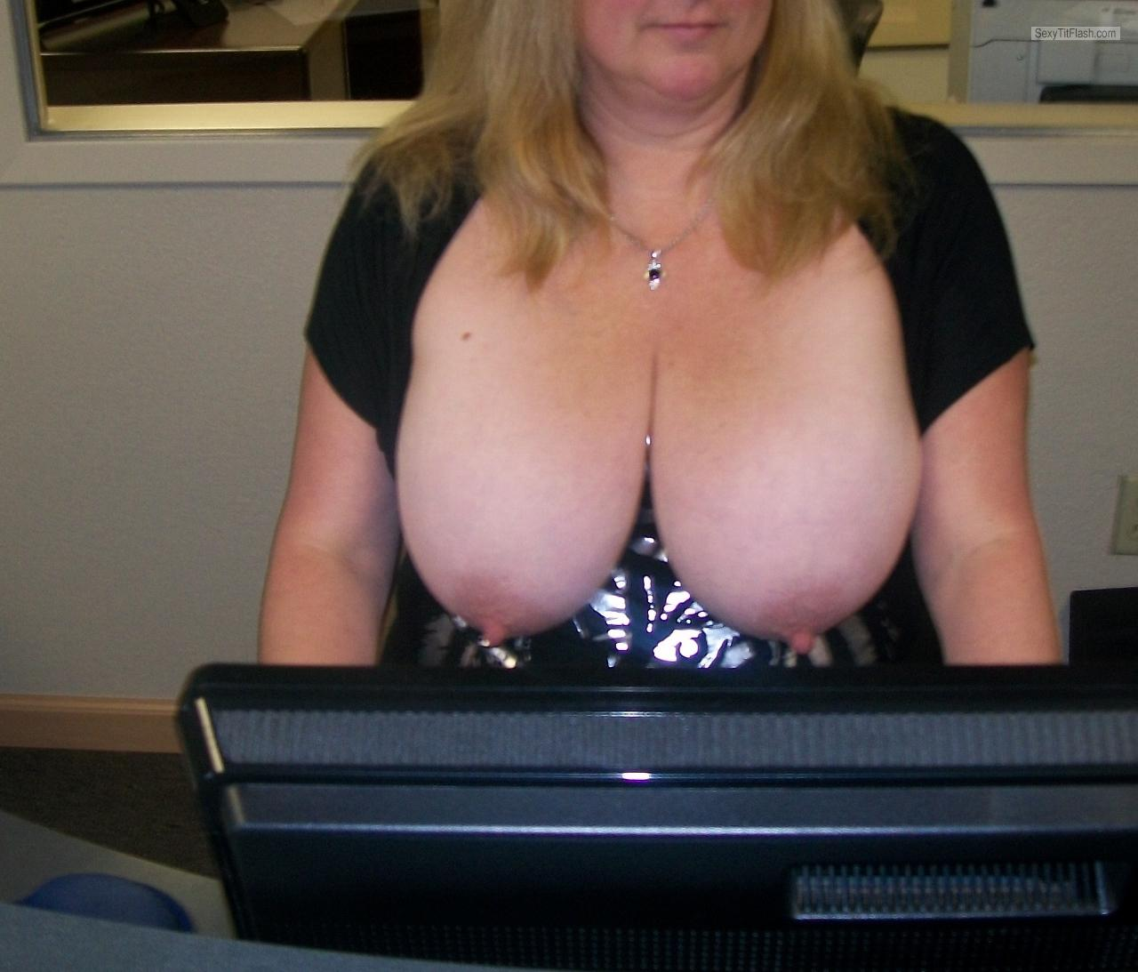 At flashing office boob