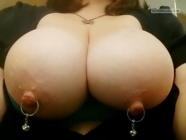 Tit Flash: My Extremely Big Tits (Selfie) - Jennifire from United StatesPierced Nipples