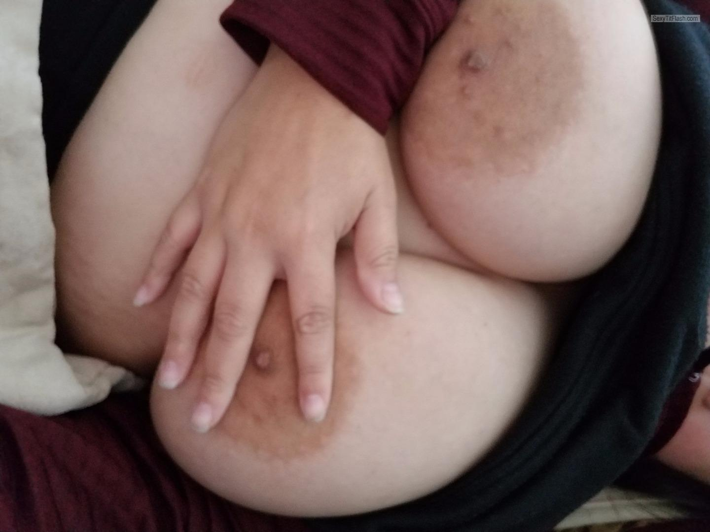 Tit Flash: My Extremely Big Tits (Selfie) - Bored Anon from United States