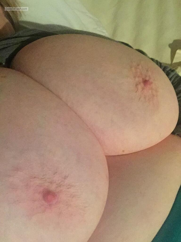 Tit Flash: My Extremely Big Tits (Selfie) - Ginger from United States
