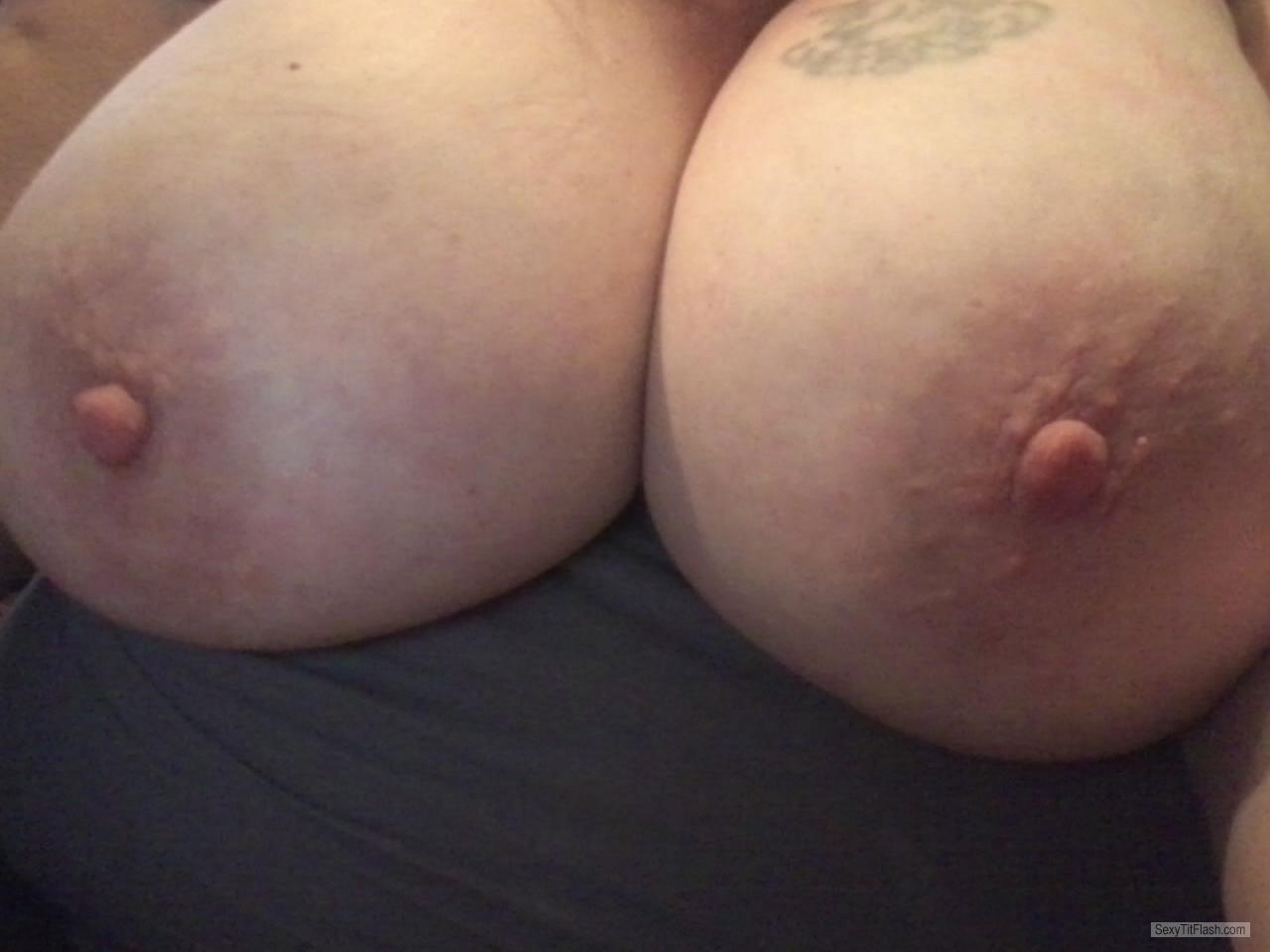 Tit Flash: My Extremely Big Tits (Selfie) - U Like? from United States