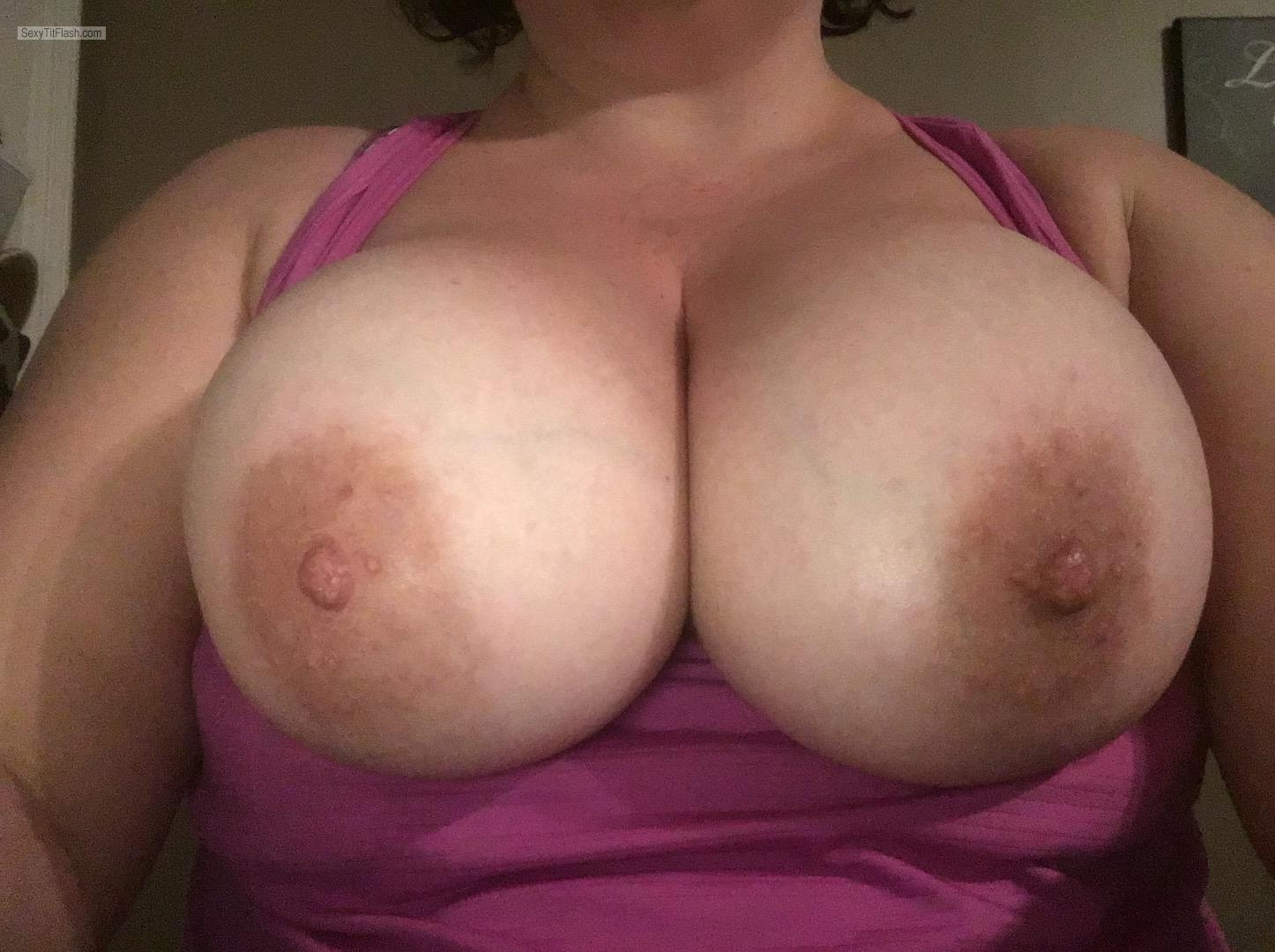 Tit Flash: Wife's Extremely Big Tits (Selfie) - Molly from United States