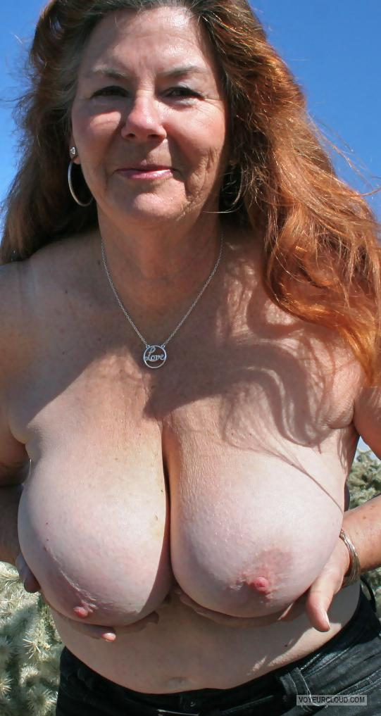 Tit Flash: Wife's Tanlined Big Tits - Topless MILF 63 from United States