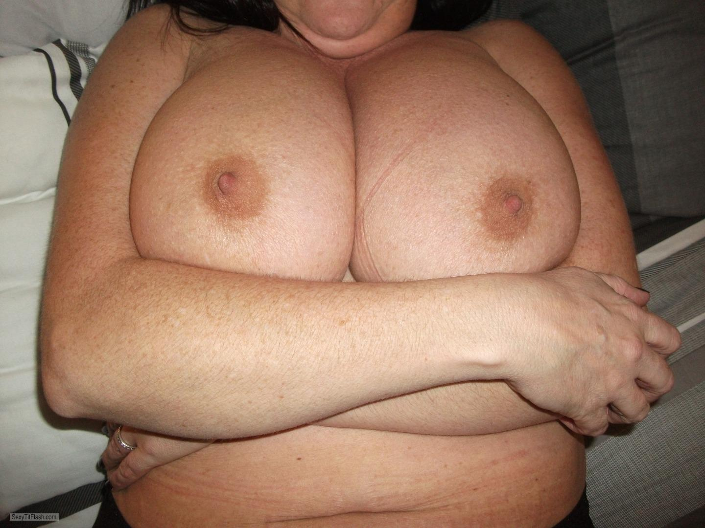 Tit Flash: My Extremely Big Tits - Topless Kersty from United Kingdom