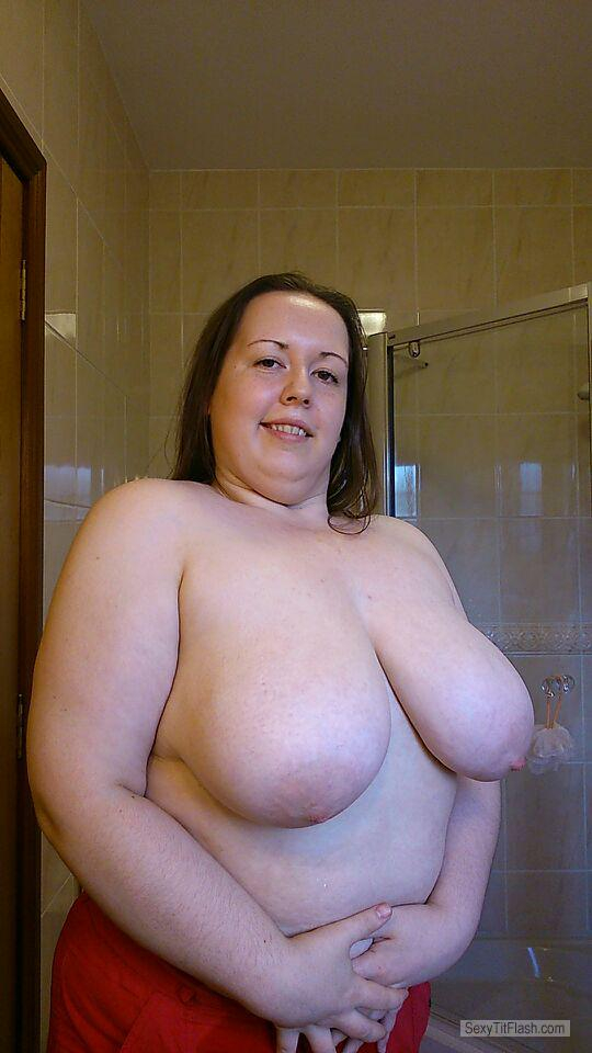 Tit Flash: My Extremely Big Tits - Topless Carol from United Kingdom