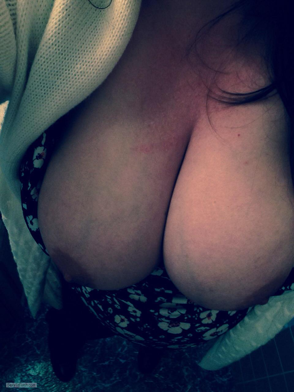 Tit Flash: My Extremely Big Tits (Selfie) - Rayann from United States