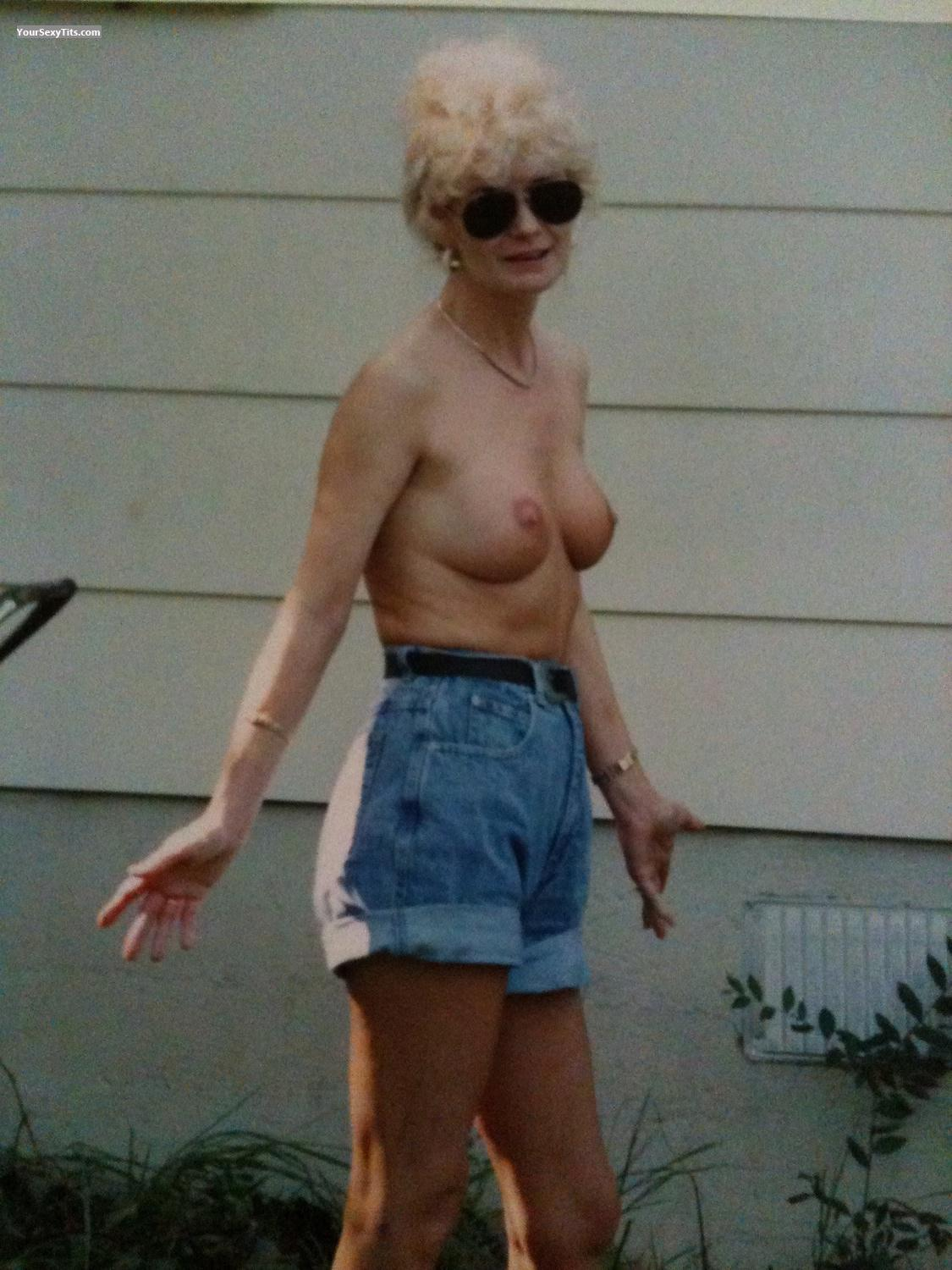 Tit Flash: Medium Tits By IPhone - Topless Liz In Dallas from United States