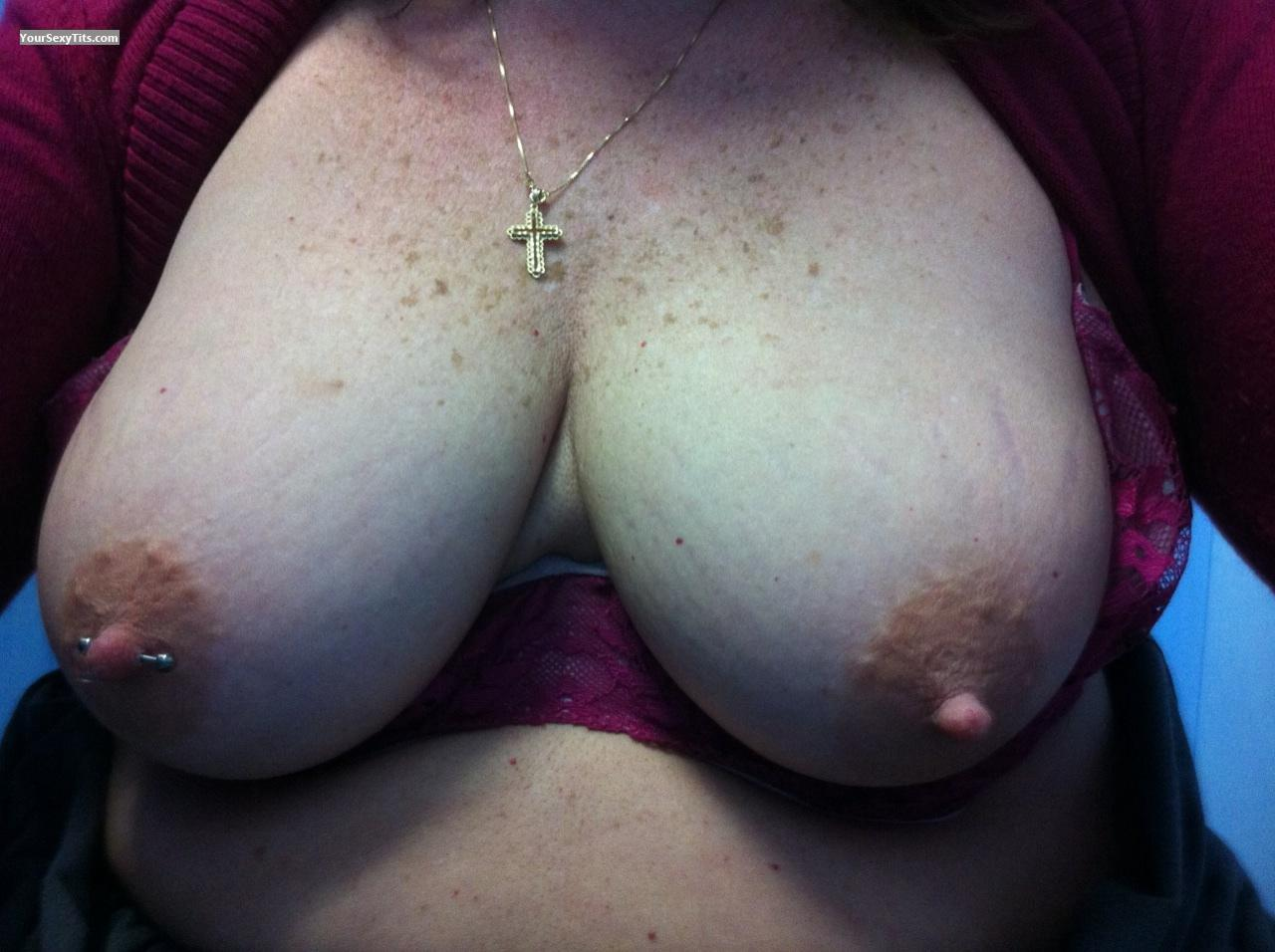 Tit Flash: My Medium Tits By IPhone (Selfie) - Camping Girl from United StatesPierced Nipples