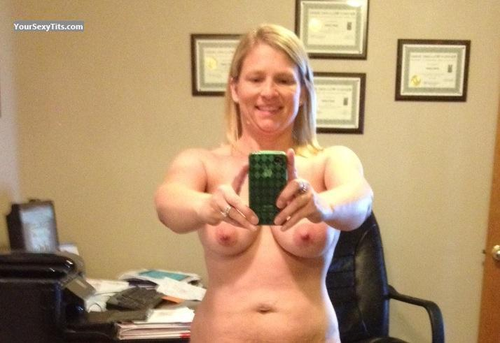 Tit Flash: My Medium Tits By IPhone (Selfie) - Topless American Girl from United States