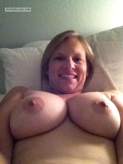 Tit Flash: My Big Tits By IPhone (Selfie) - Topless American Girl from United States