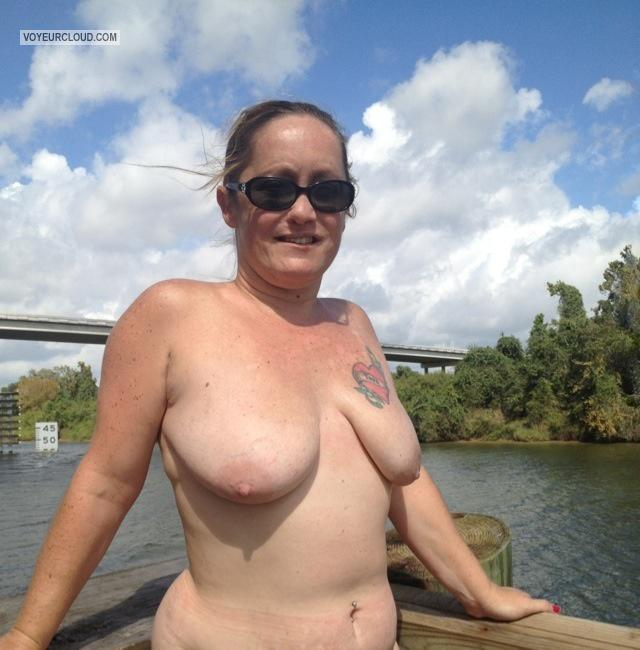 Tit Flash: Medium Tits By IPhone - Topless Littlebit from United States