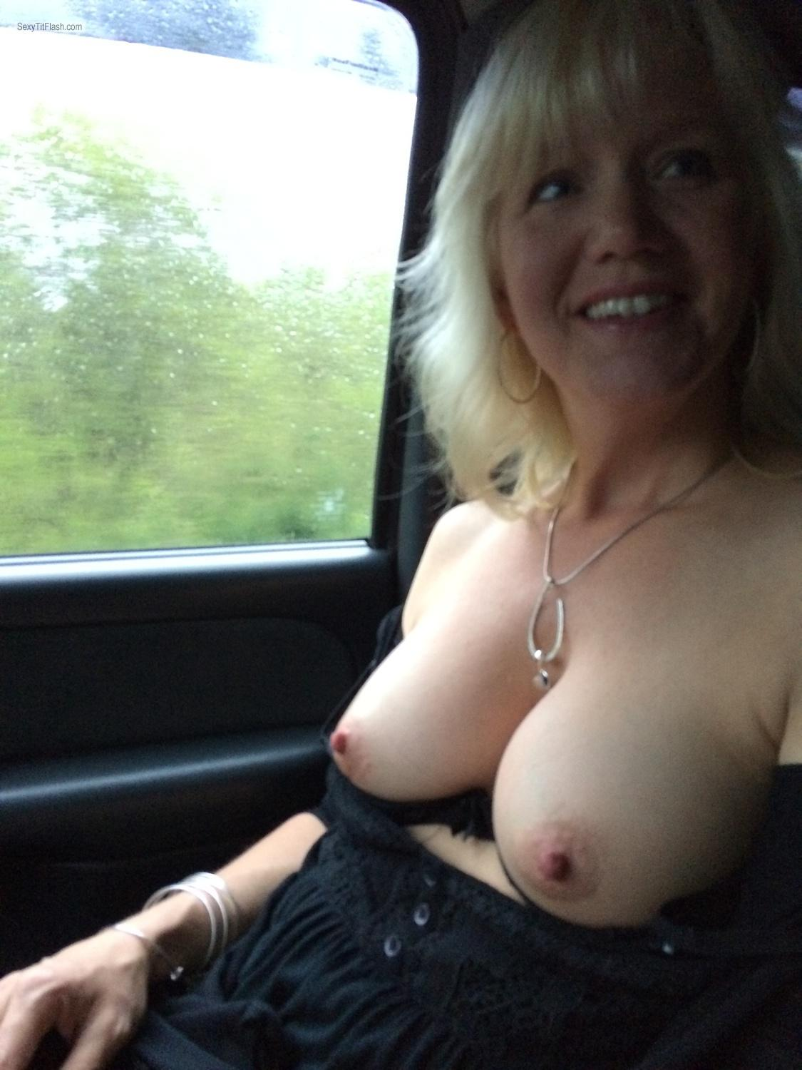 Tit Flash: Medium Tits By IPhone - Topless Miss V from United States