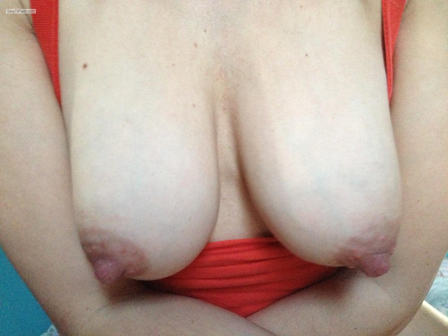 Tit Flash: Medium Tits By IPhone - Shy Milf from United States