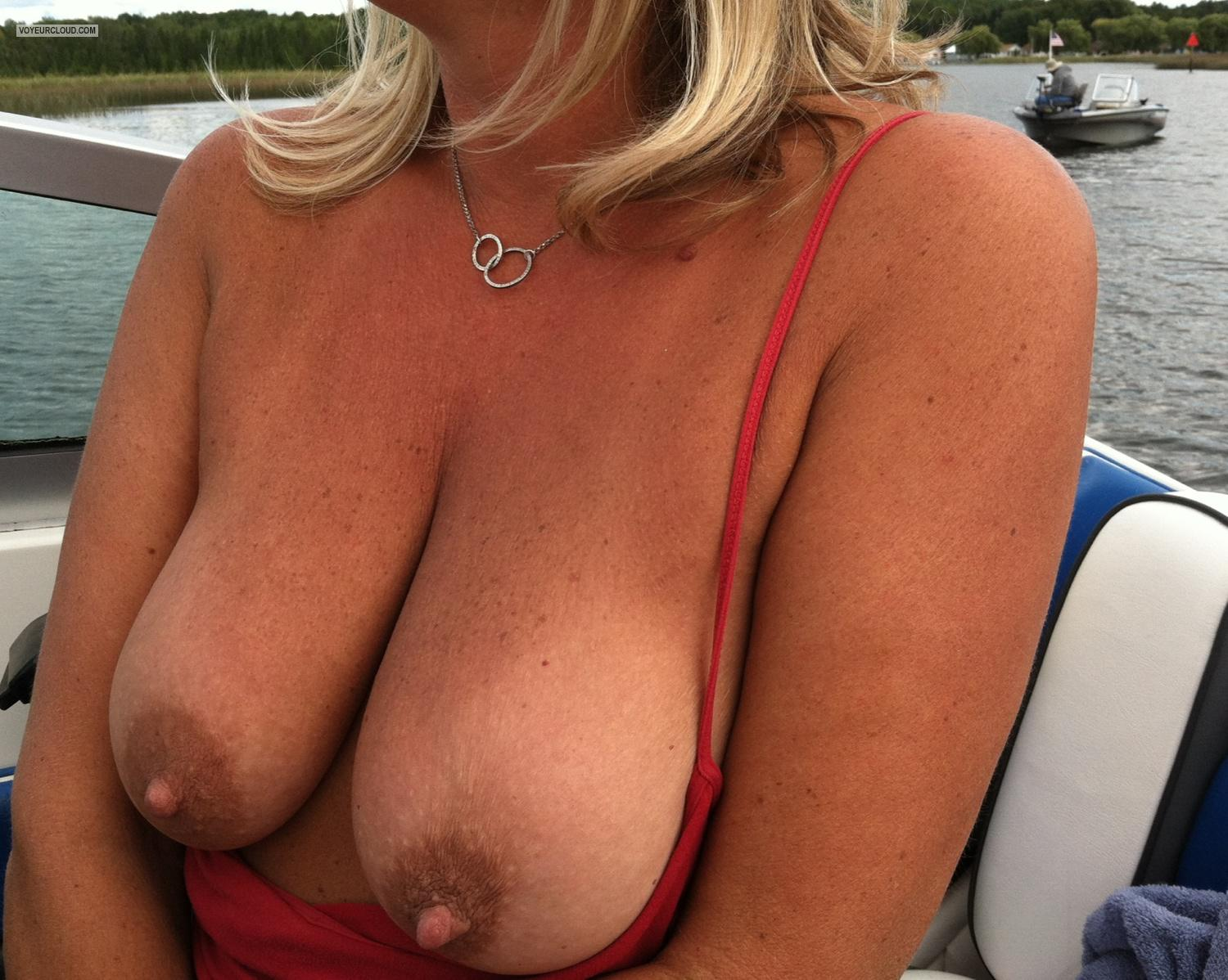 Tit Flash: Big Tits By IPhone - Boat Girlie from United States