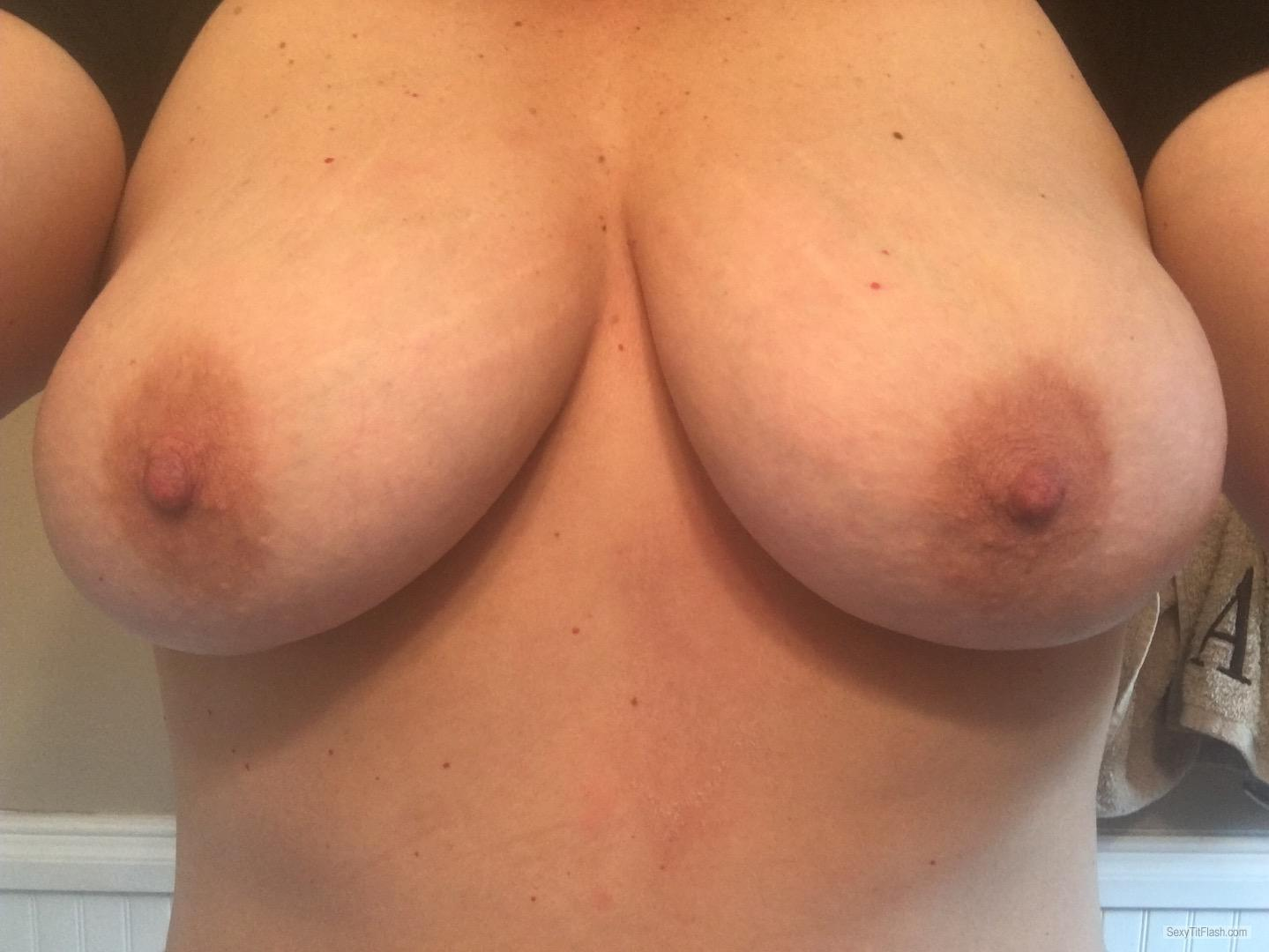 Tit Flash: My Medium Tits (Selfie) - Topless Shannon from United States