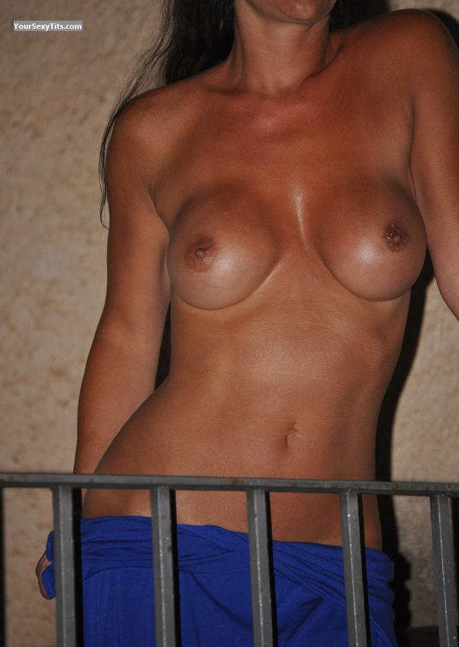 Tit Flash: Wife's Medium Tits - Camilla from Switzerland