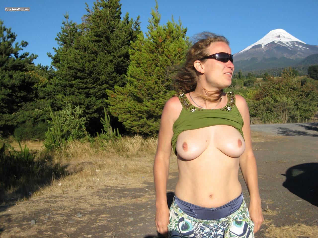 Tit Flash: Medium Tits - Topless Natural Beauty from Canada