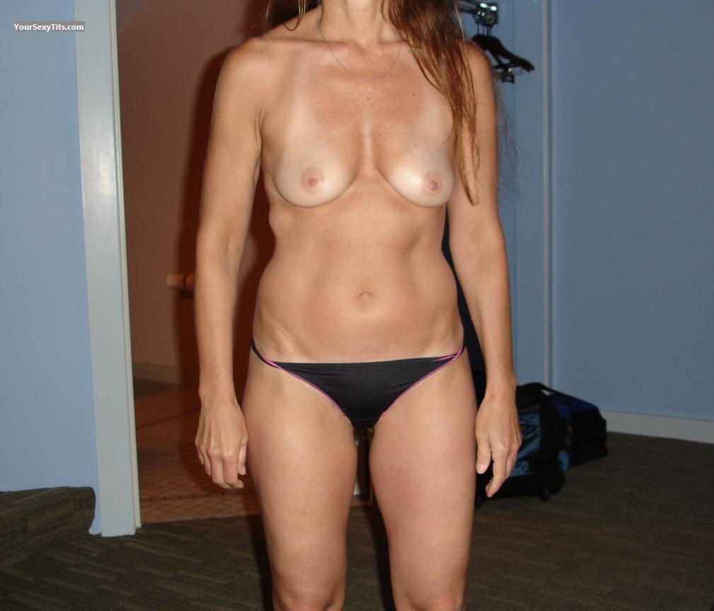 Tit Flash: Wife's Tanlined Medium Tits - Skinard from United States