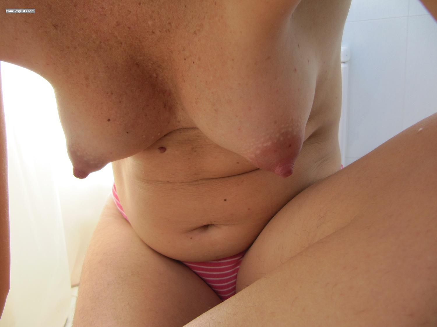 Tit Flash: Wife's Medium Tits - Geraldine from Spain