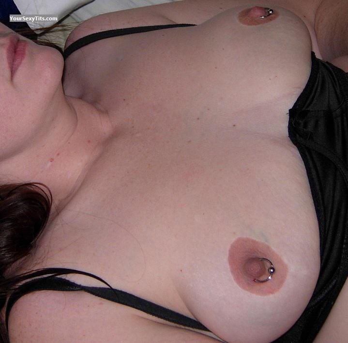 Tit Flash: Medium Tits - Pierced Milf from United StatesPierced Nipples