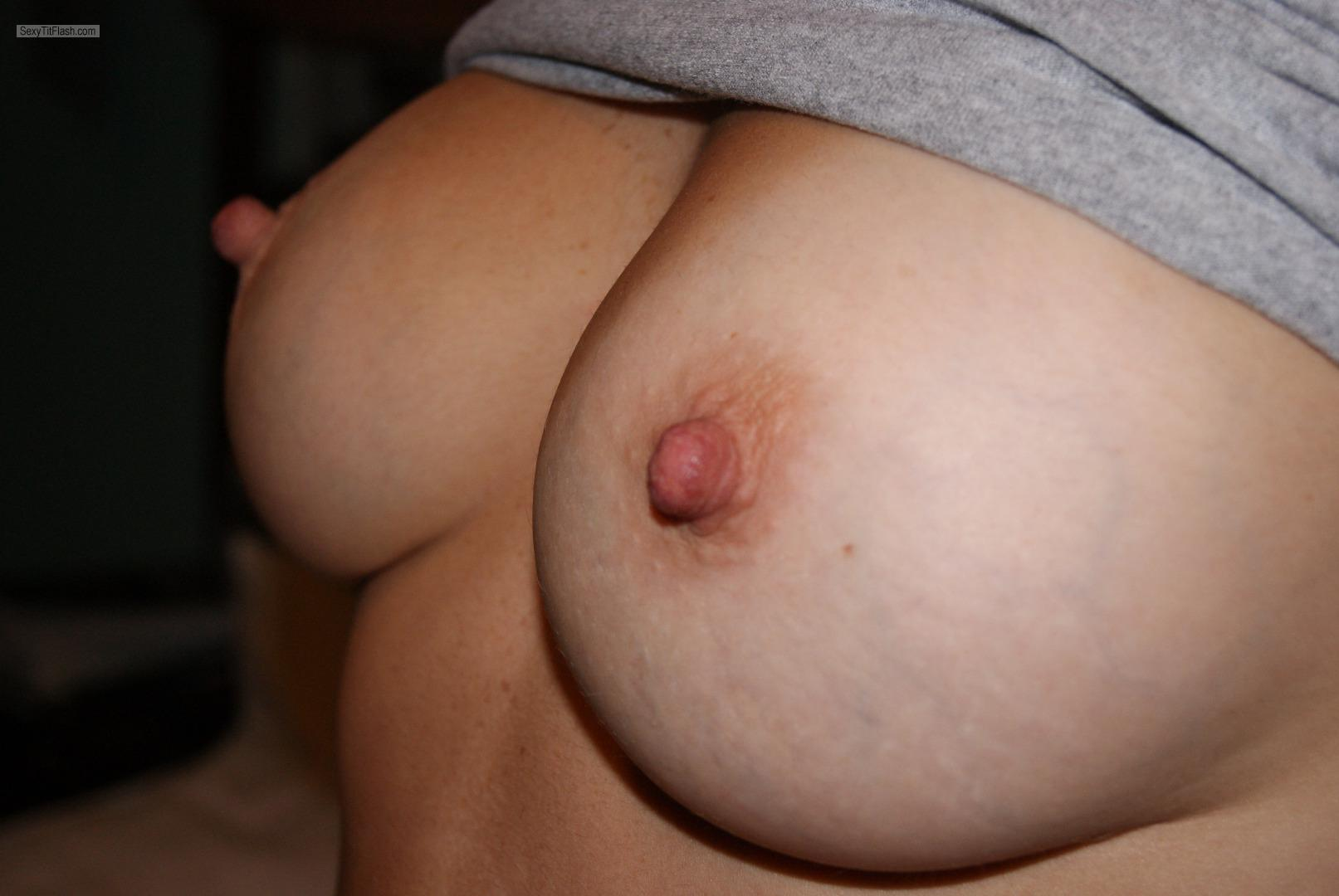 Tit Flash: Girlfriend's Medium Tits - Bella from Canada