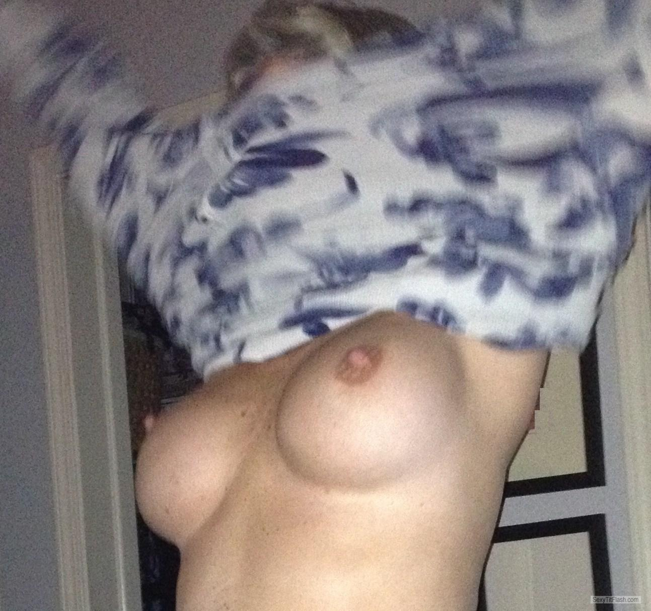 Tit Flash: Wife's Medium Tits - Summer Sun from United States