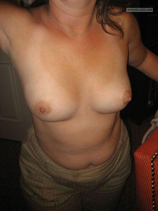 Tit Flash: Wife's Medium Tits - Gina from United States