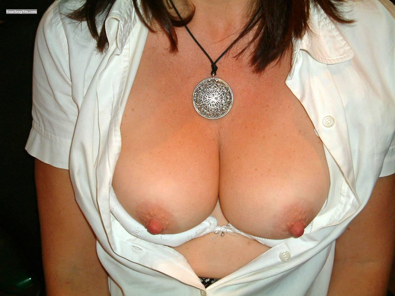 Tit Flash: Medium Tits - Topless from United Kingdom