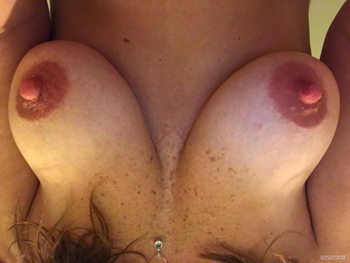 Tit Flash: Wife's Medium Tits (Selfie) - Lisas from United States