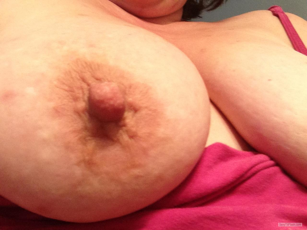 Tit Flash: Wife's Medium Tits (Selfie) - Mel from United States