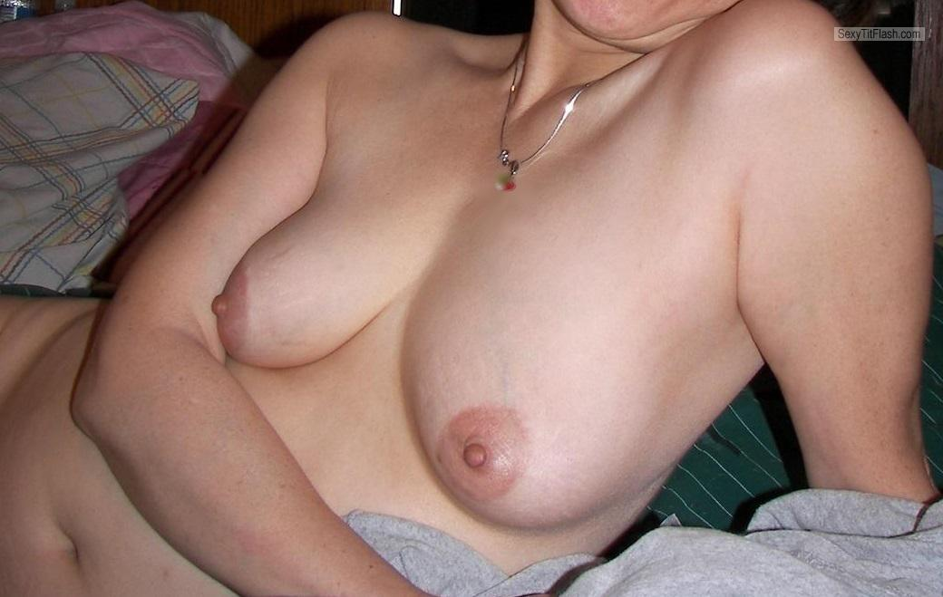 Tit Flash: My Coworker's Medium Tits - Tina from Canada